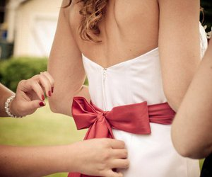 bride, red, and dress image