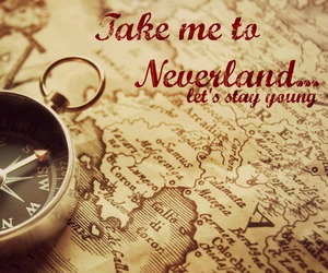 compass, map, and neverland image