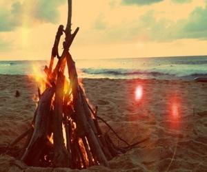 bonfire, flame, and girl image