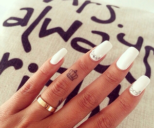 nails, white, and tattoo image
