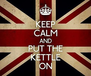 keep calm, tea, and flag image