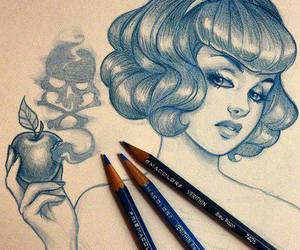 drawing, art, and snow white image
