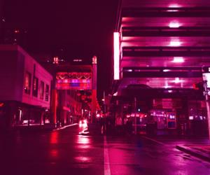 city, kawaii, and lights image