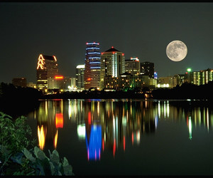 buildings, moon, and skyline image