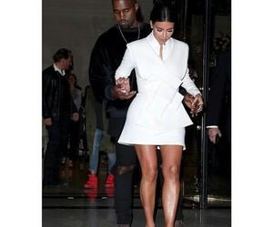 kim kardashian, kanye west, and white image