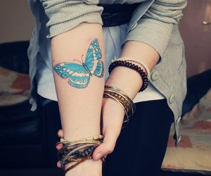 brunette, butterfly, and girl image