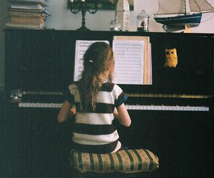 piano, girl, and vintage image