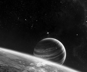 planet, space, and black and white image