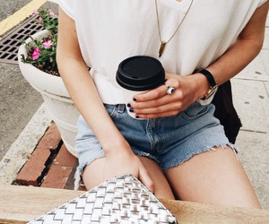 coffe, denim, and fashion image