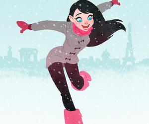 girl, snow, and art image