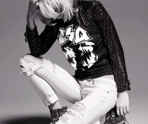 black and white, fashion, and blonde image