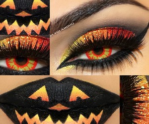 Halloween, orange, and makeup image