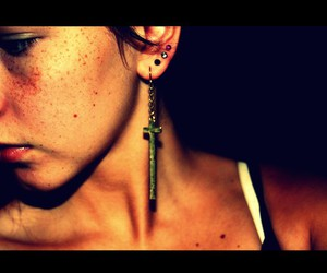 cross, earrings, and freckles image