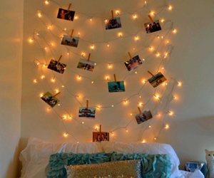lights, room, and bed image