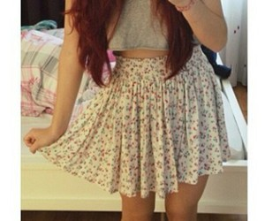 floral skirts, long red hair, and straight red hair image