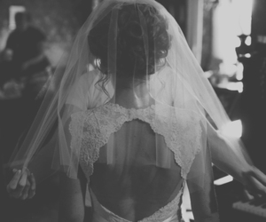 black and white, bride, and dress image