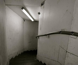 black and white, staircase, and grunge image