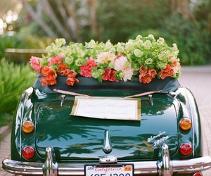 flowers, car, and wedding image