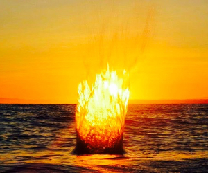 gorgeous autumn like and sea bonfire image