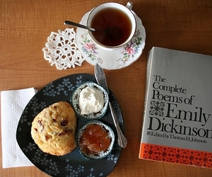 book, emily dickinson, and food image
