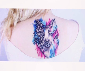 tattoo, blue, and wolf image