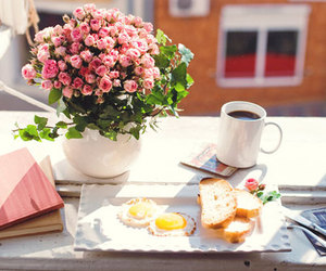 breakfast, flowers, and coffee image