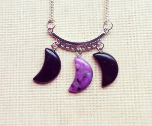 moon necklace, amethyst necklace, and gemstone necklace image