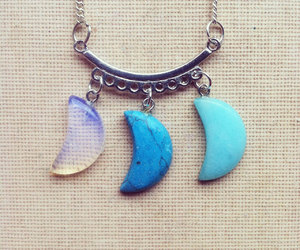 turquoise necklace, moonstone necklace, and moon necklace image