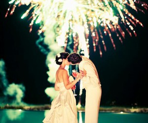 bride, firework, and pool image