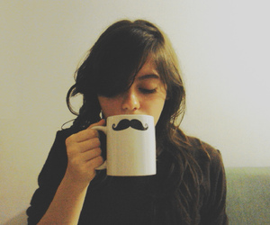 mustache, girl, and mug image