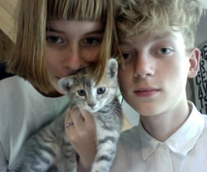 cat, pale, and girl image