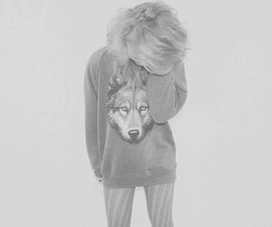girl, wolf, and blonde image