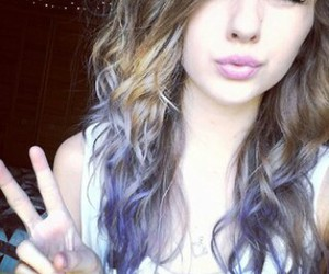 blue eyes, kiss, and purple image