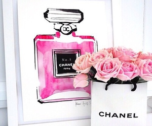 chanel, pink, and flowers image