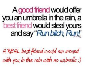 best friend, rain, and umbrella image