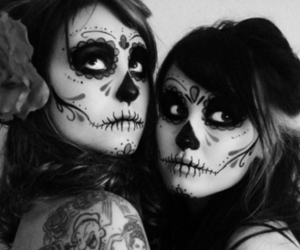 girl, skull, and make up image