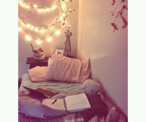 bedroom, cosy, and lights image