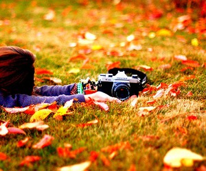 girl, camera, and autumn image