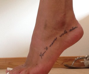 foot tattoo, quote, and ynwa image