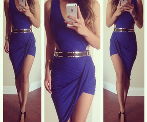 dress, outfit, and blue image