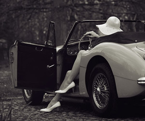 car, vintage, and black and white image