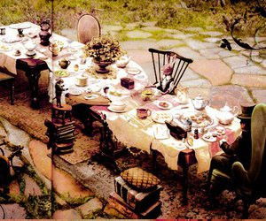 alice in wonderland, tea party, and caricatura image