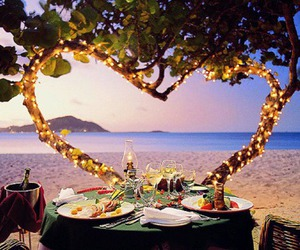 romantic, beach, and dinner image