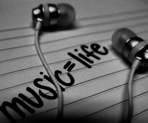 life, music, and text image