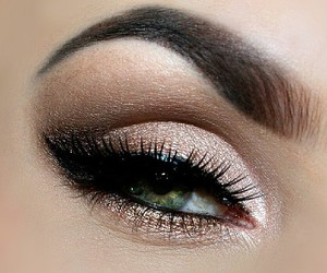 eye makeup, golden bronze, and shimmer shine glitter image