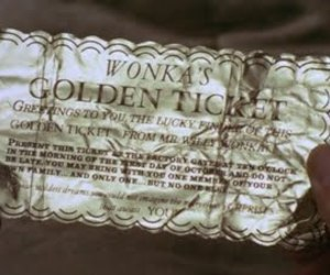 chocolate, ticket, and gloden ticket image