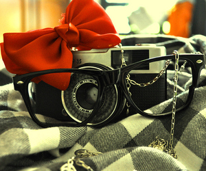 camera, bow, and glasses image