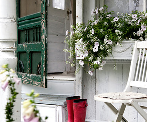 flowers, house, and white image