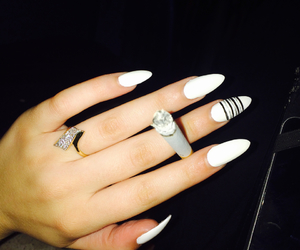 black, nails, and stiletto nails image