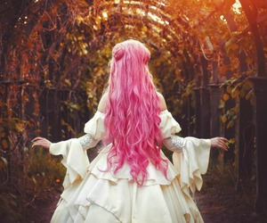 girl, pink, and pink hair image